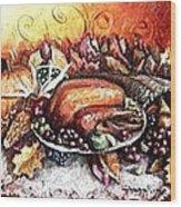 Thanksgiving Autumnal Collage Wood Print
