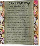 Thanksgiving By Ella Wheeler Wilcox Wood Print