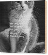 Thanksgiving Kitty Bw Wood Print