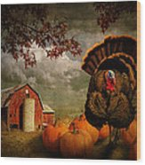 Thanksgiving Turkey Among Pumkins Wood Print