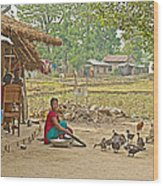 Tharu Farming Village Landscape-nepal Wood Print