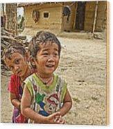 Tharu Village Children Love To Greet Us-nepal- Wood Print