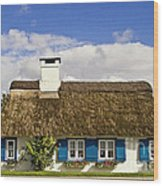 Thatched Country House Wood Print