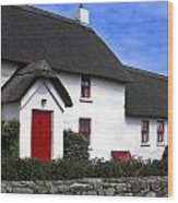 Thatched Roof House Wood Print