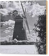 Thaxted Mill In Full Sail Wood Print