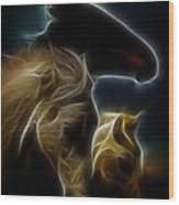 The 3 Shadow Horses Wood Print