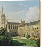 The Abbey Church Of Saint-denis And The School Of The Legion Of Honour In 1840 Oil On Canvas Wood Print