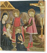 The Adoration Of The Kings And Christ On The Cross Wood Print