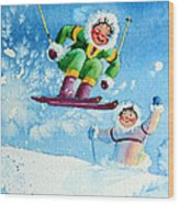 The Aerial Skier - 10 Wood Print by Hanne Lore Koehler