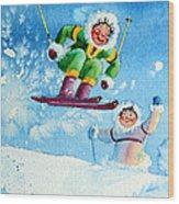The Aerial Skier - 10 Wood Print