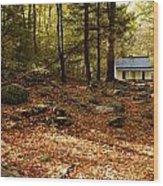 The Alfred Reagan Cabin Autumn Wood Print
