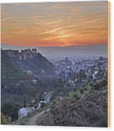 The Alhambra And Granada At Sunset Wood Print