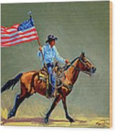 The All American Cowboy Wood Print
