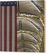 The American Flag At Reagan Airport Wood Print