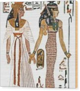 The Ancient Egyptian Goddess Isis Leading Queen Nefertari Wood Print