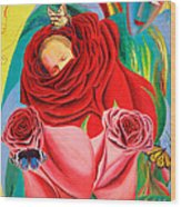 The Angel Of Roses Wood Print