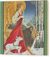 The Angel The Lion And The Lamb Wood Print