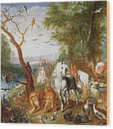 The Animals Entering Noahs Ark Panel Wood Print