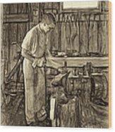 The Apprentice - Paint Sepia Wood Print