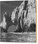 The Arch Cabo San Lucas In Black And White Wood Print
