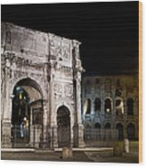 The Arch Of Constantine And The Colosseum At Night Wood Print