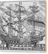 The Ark Raleigh The Flagship Of The English Fleet From Leisure Hour Wood Print