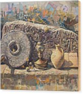 The Armenian Still-life With A Fragment Cross - Stone  Armenian Khachqar Wood Print