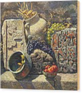 The Armenian Still Life With Cross  Stone Khachkar Wood Print