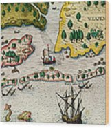 The Arrival Of The English In Virginia Wood Print