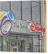 The Art Of Disney Signage Selective Coloring Digital Art Wood Print