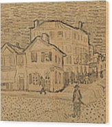 The Artists House In Arles Wood Print by Vincent Van Gogh