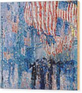 The Avenue In The Rain Wood Print by Frederick Childe Hassam