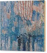 The Avenue In The Rain Wood Print