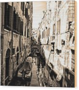 The Back Canals Of Venice Wood Print