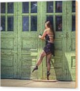 The Ballerina And The Green Doors Wood Print