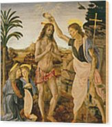 The Baptism Of Christ By John The Baptist Wood Print by Leonardo da Vinci