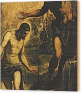 The Baptism Of Christ Wood Print by Jacopo Robusti Tintoretto