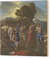 The Baptism Of Christ Wood Print by Nicolas Poussin