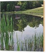 The Barn Across The Pond Wood Print
