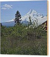 The Barn And  Mt. Hood Wood Print