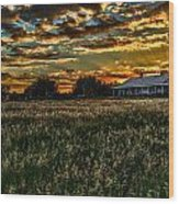 The Barn At Sunset Wood Print