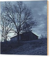 The Barn In Blue Wood Print