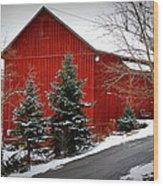 The Barn In Wintertime Wood Print