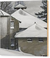 The Barns At Castle Hill After The Snow Wood Print