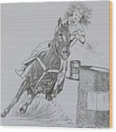 The Barrel Racer Wood Print
