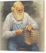 The Basketmaker In Pastel Wood Print
