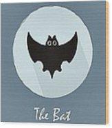 The Bat Cute Portrait Wood Print
