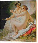 The Bathers Wood Print by Louis Hersent