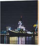 The Battleship New Jersey At Night Wood Print