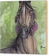 The Bay Arabian Horse 16 Wood Print